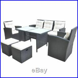VidaXL Outdoor Dining Set 18 Pieces Poly Rattan Wicker Black Garden Furniture