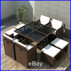 VidaXL Outdoor Dining Set 21 Pieces Poly Rattan Wicker Brown Garden Table Seat