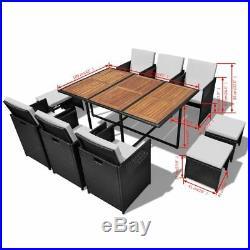 VidaXL Outdoor Dining Set 27 Piece Poly Rattan Wicker Acacia Black Table Chair