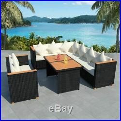 VidaXL Outdoor Dining Set 27 Piece Wicker Poly Rattan Black WPC Garden Lounge