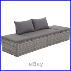 VidaXL Outdoor Lounge Bed Poly Rattan Gray Wicker Patio Pool Sofa Sunlounger