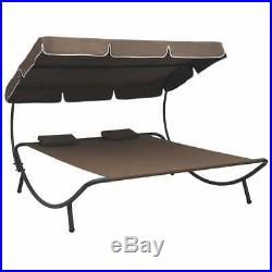 VidaXL Outdoor Lounge Bed with Canopy Pillows Brown Garden Patio Sun Day Bed
