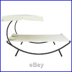 VidaXL Outdoor Lounge Bed with Canopy Pillows Cream White Garden Sun Day Bed