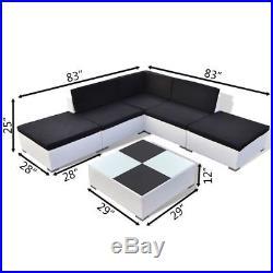 VidaXL Outdoor Lounge Set 15 Piece Wicker Poly Rattan White Garden Patio Sofa
