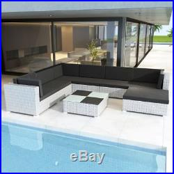 VidaXL Outdoor Lounge Set 24 Piece Wicker Poly Rattan White Garden Patio Sofa