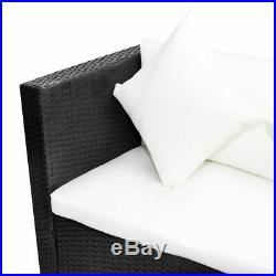 VidaXL Outdoor Lounge Set Wicker Poly Rattan Black Garden Sofa Seat Furniture