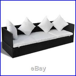 VidaXL Outdoor Sofa 3-Seat Poly Rattan Wicker Black Convertible Chaise Lounge