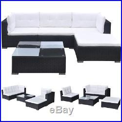 VidaXL Outdoor Sofa Set 14 Piece Wicker Poly Rattan Black Garden Patio lounge