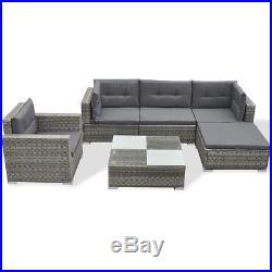 VidaXL Outdoor Sofa Set 17 Piece Wicker Poly Rattan Gray Garden Section Lounge