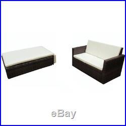 VidaXL Outdoor Sofa Set 7 Piece Poly Rattan Wicker Brown Garden Couch Stool