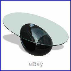 VidaXL Oval Coffee Table Nightstand Fiberglass High Gloss Black Base Glass Top