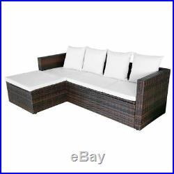VidaXL Patio Outdoor Wicker Rattan Sofa Stool Table Garden Lounge Set 2 Colors