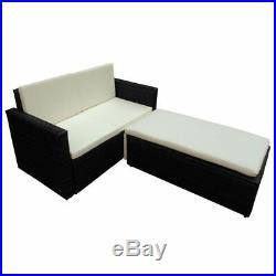 VidaXL Patio Rattan Wicker Sofa Table Chairs Outdoor Lounge Set Brown/Black