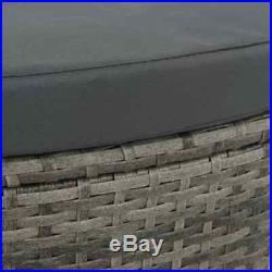 VidaXL Patio Sofa Set with Parasol Poly Rattan Wicker Gray Outdoor Sun Day Bed