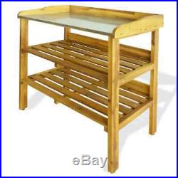 VidaXL Potting Bench with 2 Shelves Solid Acacia Wood and Zinc Planting Table