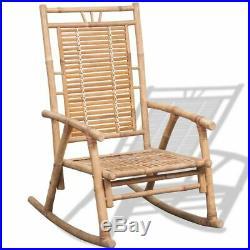 VidaXL Rocking Chair Bamboo Outdoor Patio Garden Porch Deck Seat Armchair