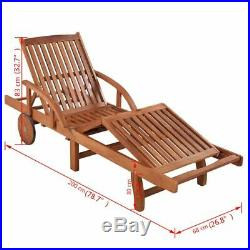 VidaXL Solid Acacia Sun Lounger with Cushion Reclining Chaise Outdoor Garden