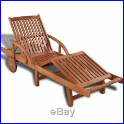 VidaXL Solid Acacia Wooden Sun Lounger Bed Pool Outdoor Garden Patio Seats
