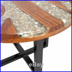 VidaXL Solid Teak Wood Coffee Table Resin Handmade Paint Finish Side End Couch
