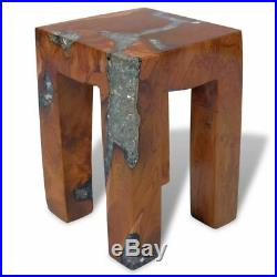 VidaXL Solid Teak Wood Stool Chair Side Accent Table Flower Plant Stand Resin