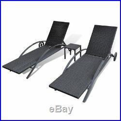 VidaXL Sun Lounger Set Poly Rattan Wicker Black Outdoor Seating Bed Garden