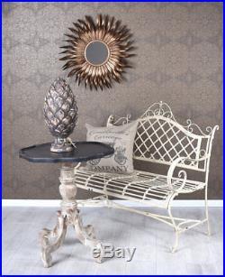 Vintage Gartenbank Shabby Chic Bank Metall Sitzbank Garten Eisenbank Weiss