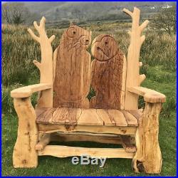 WISE OWL Garden Bench SOLID OAK wooden outdoor furniture, handmade in the UK