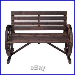 Wagon Wheel Bench Garden Chair Loveseat Wooden Accent Outdoor Garden