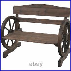 Wagon Wheel Wooden Outdoor Bench Seat Chair Loveseat Patio Garden Yard Furniture