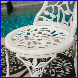 White Iron Cast 3 Piece Bistro Outdoor Patio Set Leaf Design Weather Resistant