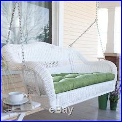 White Resin Wicker Hanging Outdoor Swing Home Patio Deck Furniture Yard Porch