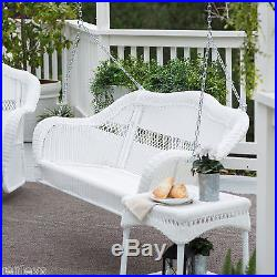 White Resin Wicker Hanging Outdoor Swing Patio Deck Porch Backyard 2 Person NEW