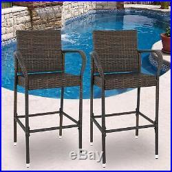 Wicker Bar Stool Outdoor Backyard Rattan Chair Patio Furniture Chair Set of 2