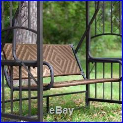 Wicker Gazebo Swing Steel Outdoor Patio Furniture Seat Backyard Canopy Glider