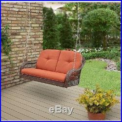 Wicker Porch Swing Brown Hanging Outdoor 2 Love Seat Cushion Garden Furniture