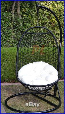 Wicker Rattan Swing Bed Chair Weaved Egg Shape Hanging Hammock- BLACK/Khaki