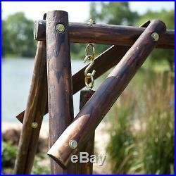 Wood Porch Swing Bench Deck Yard Outdoor Garden Patio Rustic Log Frame Set Curve