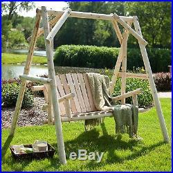 Wood Porch Swing Bench Deck Yard Outdoor Garden Patio Rustic Log Frame Set Seat