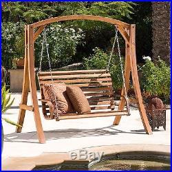 Wooden Bench Swing Patio Set Outdoor Wood Swinging Loveseat Glider Furniture