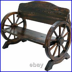 Wooden Garden Bench Seat Burnt Wood Outdoor Park Patio 2/3 Seat Wagon Cart Wheel