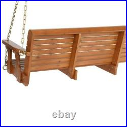 Wooden Porch Swing 5 ft Natural Wood Patio Outdoor Yard Garden Bench Hanging