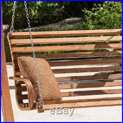 Wooden Porch Swing Wood Patio Garden Outdoor Teak Finish Loveseat Furniture