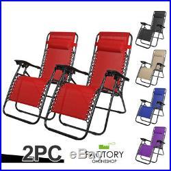 X2 Zero Gravity Chairs Folding Lounge Beach Outdoor Patio Reclinable Steel