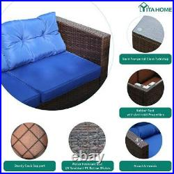 YITAHOME 5Pcs Rattan Wicker Sofa Cushioned Couch Outdoor Furniture Sectional Set