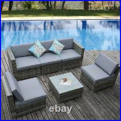 YITAHOME 6Pcs Outdoor Rattan Wicker Sofa Cushion Couch Sectional Furniture Set