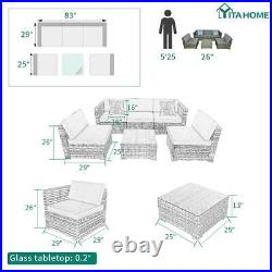 YITAHOME 6Pcs Rattan Wicker Sofa Outdoor Cushioned Couch Sectional Set Patio