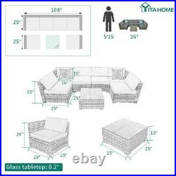 YITAHOME 7x Patio Sofa Set Rattan Wicker Chair Sectional Cushioned Couch Outdoor