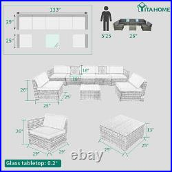 YITAHOME 8pcs Outdoor Patio Sofa Set PE Rattan Wicker Sectional Furniture Couch