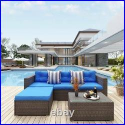 YITAHOME Patio Sofa Set 5Pcs Outdoor Furniture Set Rattan Wicker Cushion Couch