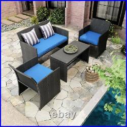 YITAHOME Patio Wicker Furniture Outdoor 4Pcs Rattan Sofa Garden Conversation Set